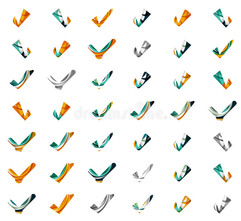 Set of abstract OK and tick icons, business. Logotype concepts, clean modern geometric design. Created with transparent abstract wave lines stock illustration