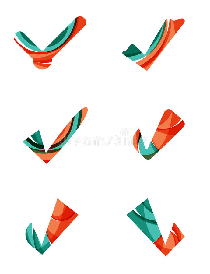Set of abstract OK and tick icons, business. Logotype concepts, clean modern geometric design. Created with transparent abstract wave lines royalty free illustration