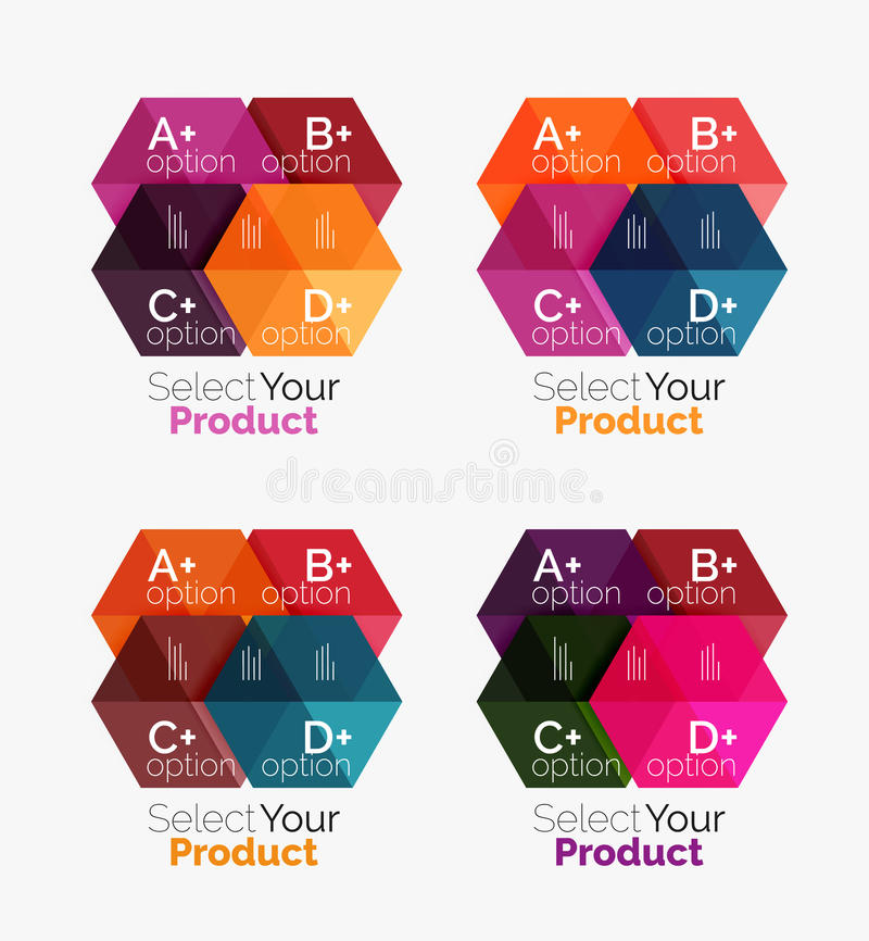 Set of abstract option navigation templates. Elements of business brochure, flyer or web design navigation layouts vector illustration