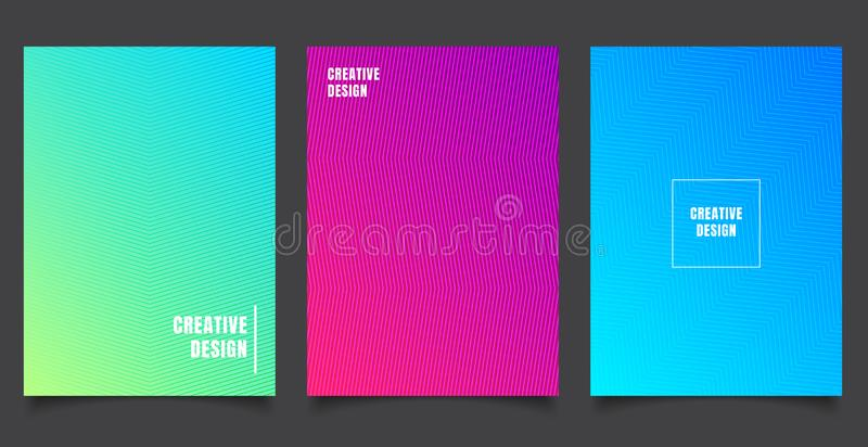 Set of abstract pattern background with lines gradient texture. Minimal dynamic cover design. blue, green placard poster template vector illustration
