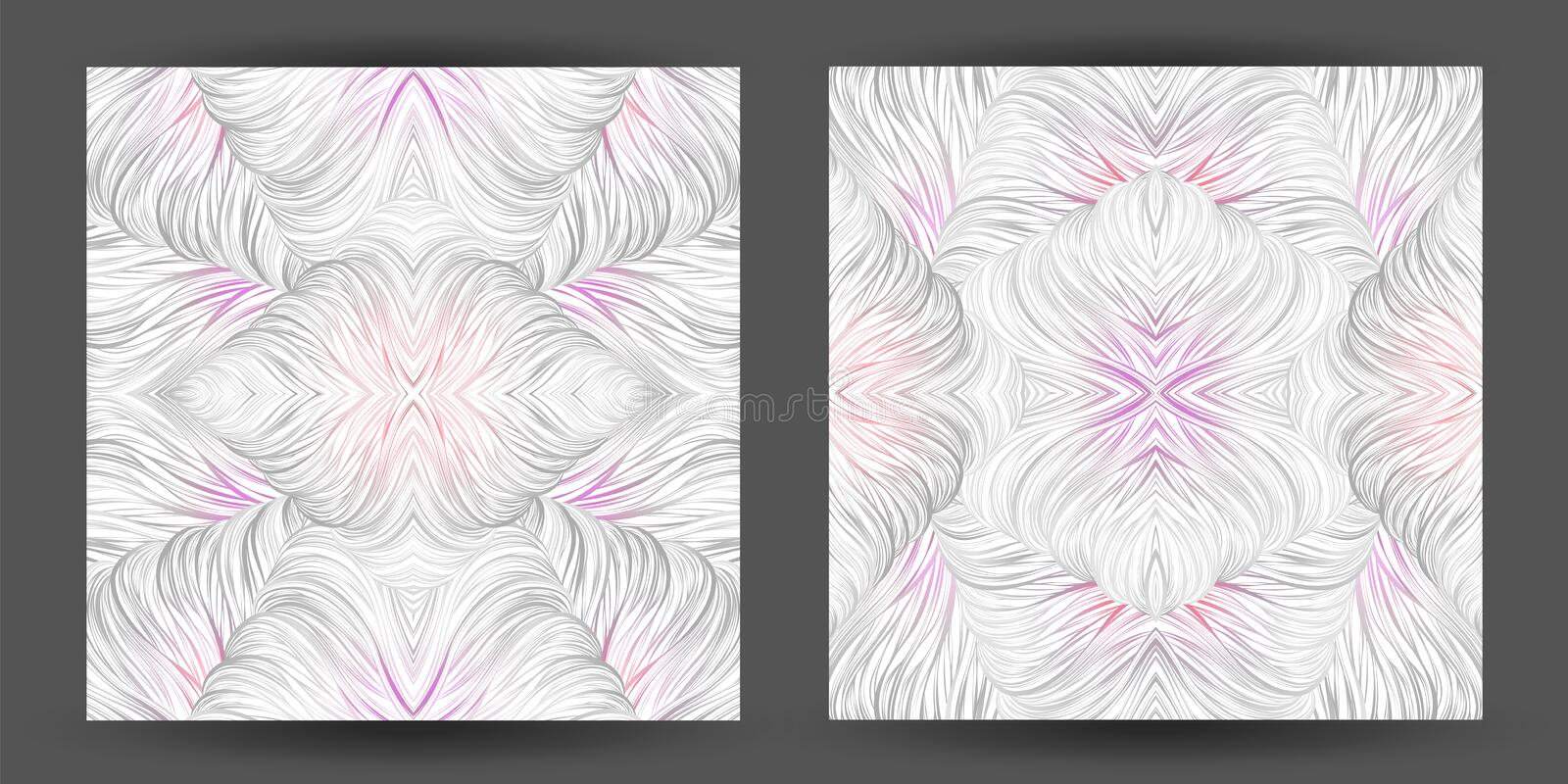 Set abstract pattern seamless. line art tracery. wave hair natural white texture stock illustration