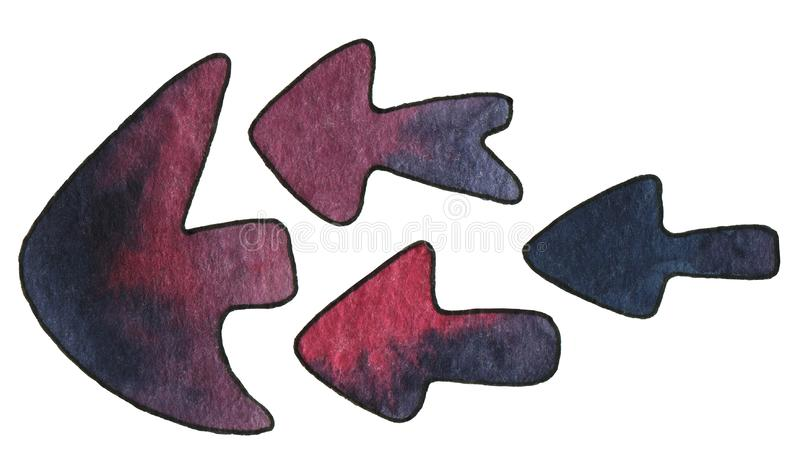 Set of abstract pointer arrows red and indigo color. Hand drawn watercolour painting on white background clip art graphic elements stock illustration