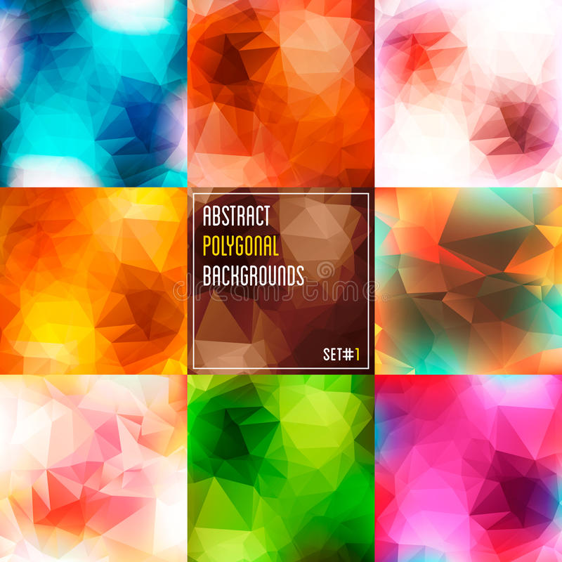 Set of abstract polygonal multicolor backgrounds. vector illustration