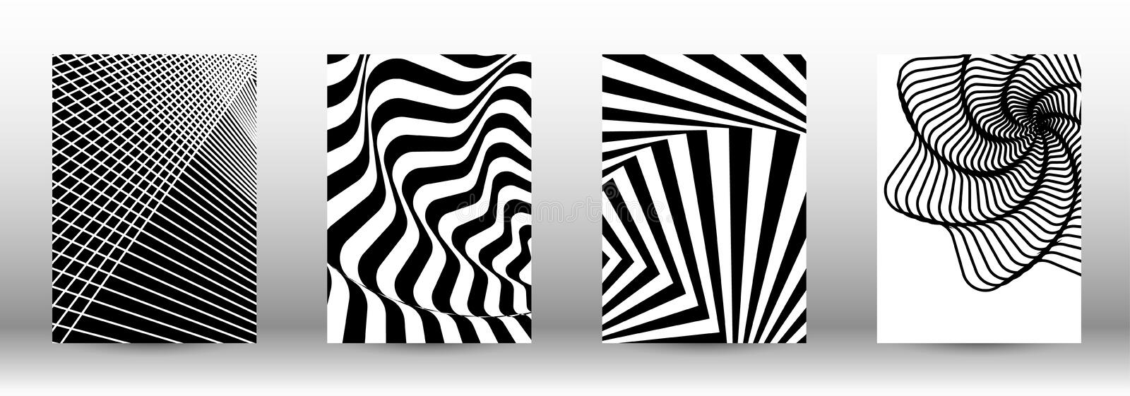Set of abstract psychedelic backgrounds. Optical contrast. Set of abstract patterns with distorted lines. Black and white striped psychedelic background royalty free illustration