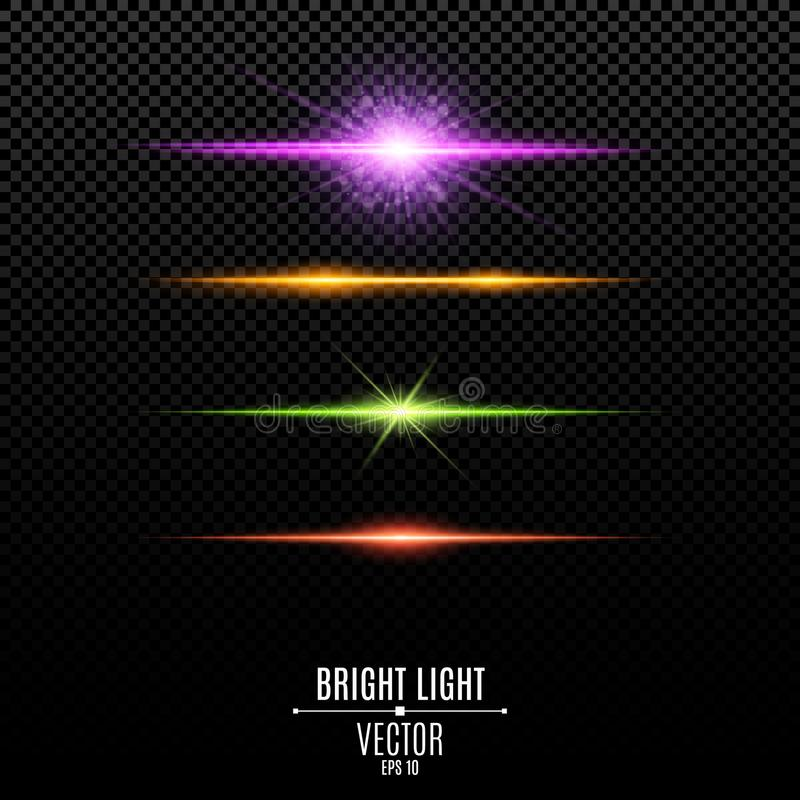 Set. Abstract purple, orange, green, red glare and flashes isolated on a transparent background. Bright radiant star. Multicolor b royalty free illustration