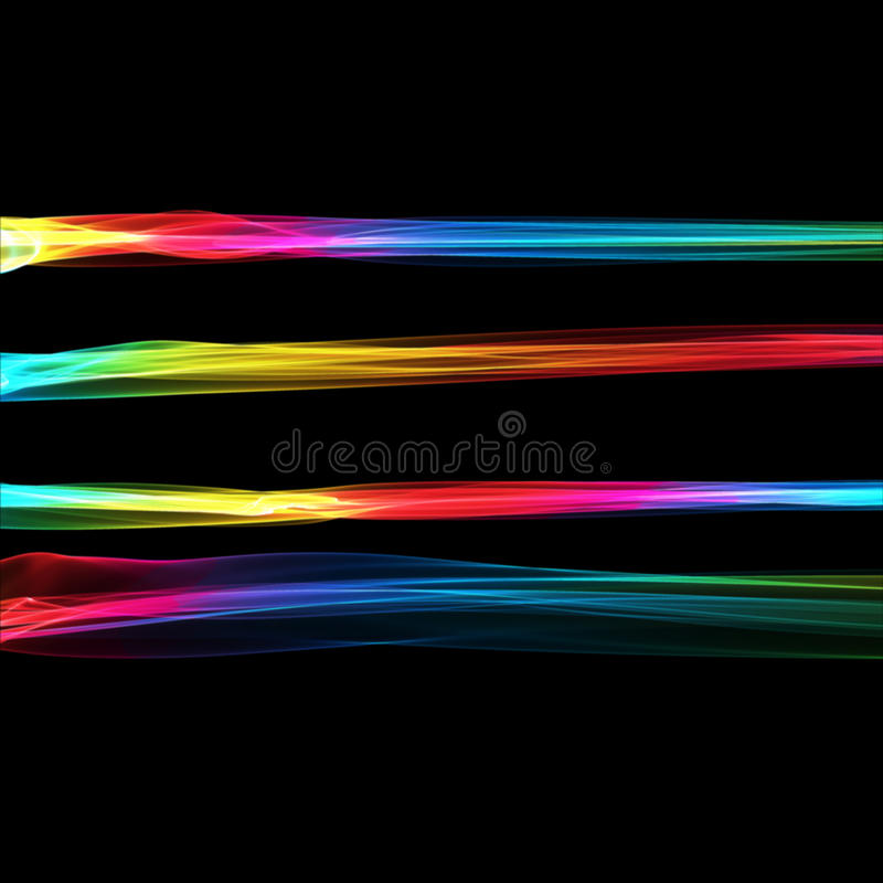 Set of abstract rainbow smoke fire brushes over black background. Wavy elegant collection elements for your design. And art vector illustration