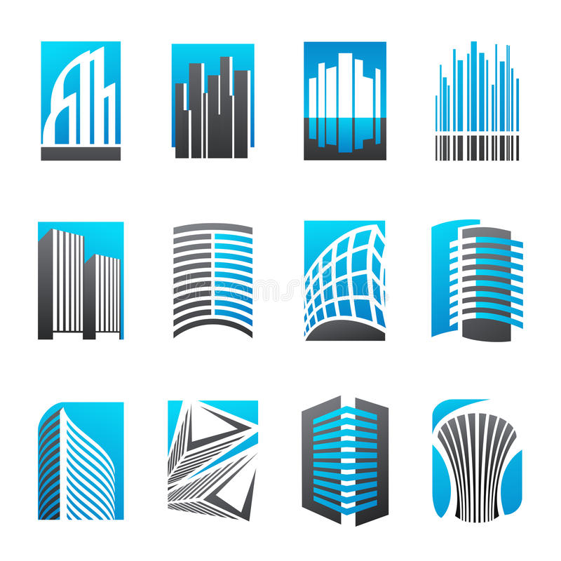 Set of abstract real estate icons royalty free illustration