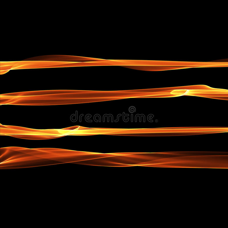 Set of abstract red smoke fire brushes over black background. Wavy elegant collection elements for your design and art.  stock illustration