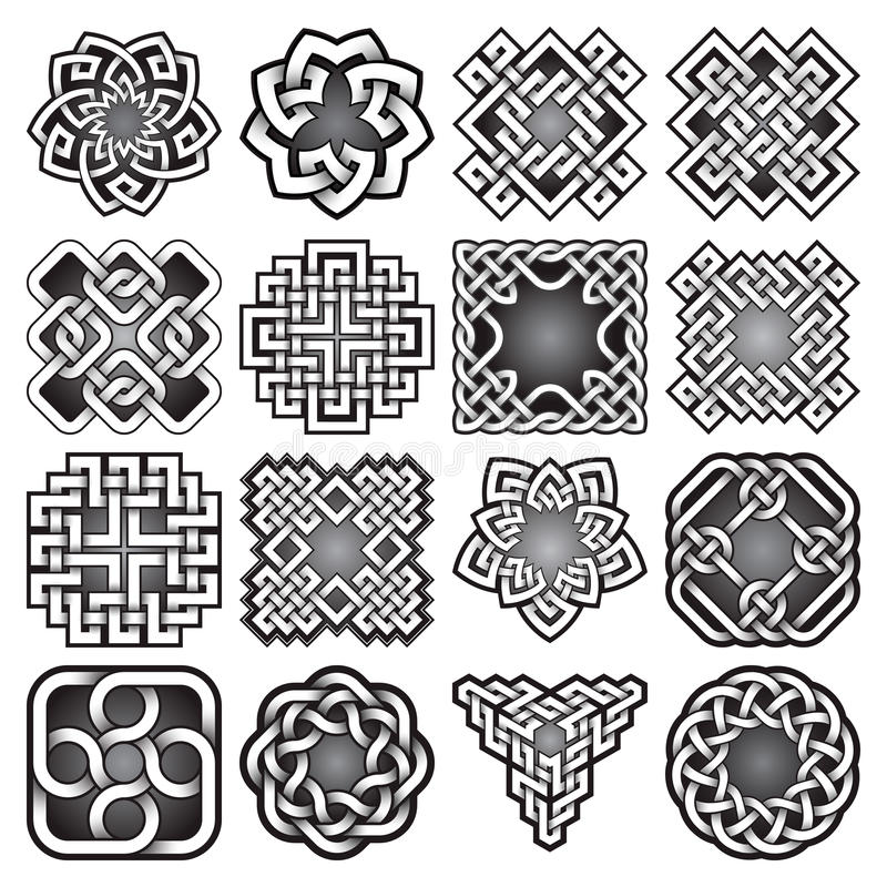 set of abstract sacred geometry symbols in celtic knots style stock