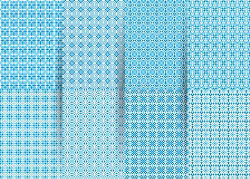 Set of 6 abstract seamless checkered geometric patterns. Vector blue geometric ackground for fabrics, prints, children`s clothes. royalty free illustration
