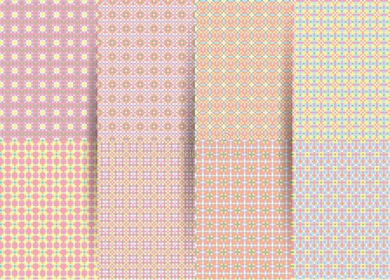 Set of 6 abstract seamless checkered geometric patterns. Vector pink geometric ackground for fabrics, prints, children`s clothes. vector illustration
