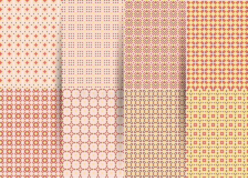 Set of 6 abstract seamless checkered geometric patterns. Vector pink geometric ackground for fabrics, prints, children`s clothes. stock illustration
