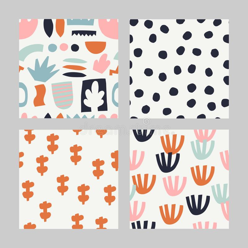 Set with abstract seamless pattern. stock image