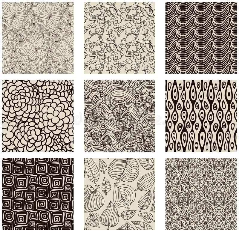 Set of abstract seamless patterns black and white vector illustration