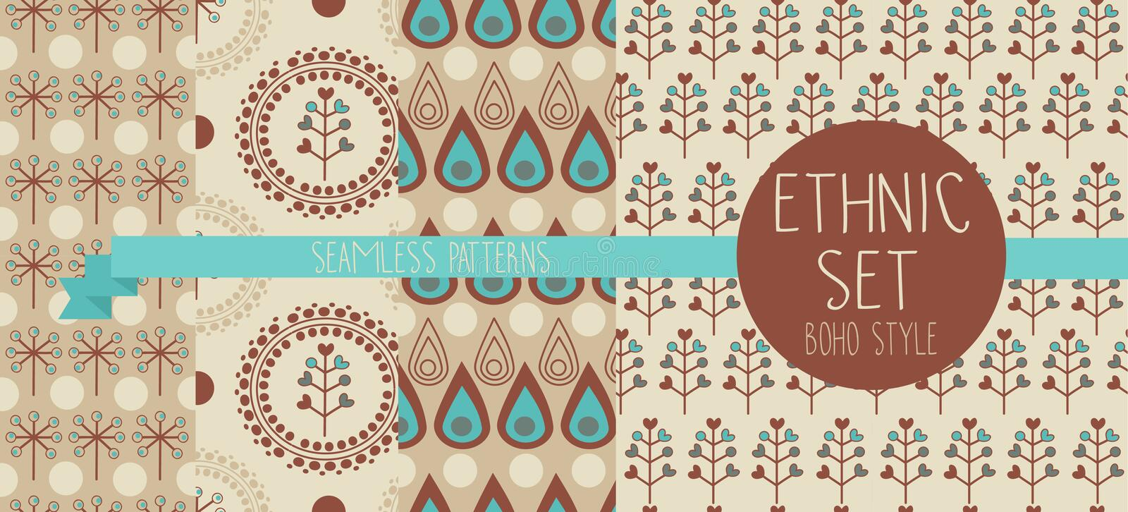 Set of abstract seamless patterns, drop and floral ethnic elements royalty free illustration