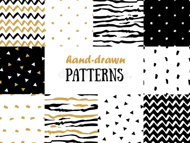 Set of abstract seamless patterns in gold, white and black stock illustration