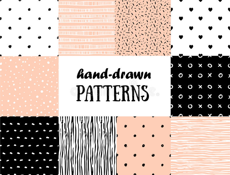 Set of abstract seamless patterns in pink, white and black vector illustration