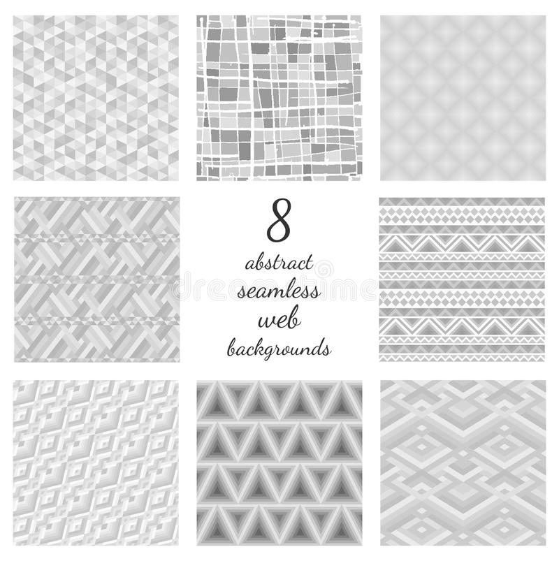 Set Of Abstract Seamless Web Backgrounds. Collection of 8 tender grey repeatable backdrops. Different monochrome mosaic and opt art ornaments vector illustration