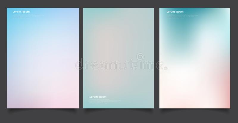 Set of abstract soft blurred gradients background graphic design template for brochure, banner, wallpaper, mobile screen, annual stock illustration