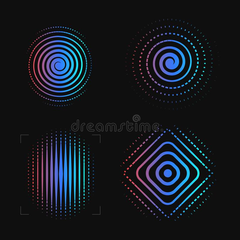 Set of abstract spiral. Finger print logo template. Biometric, Security system logotype. Eye scanner icon. Vectors. royalty free illustration