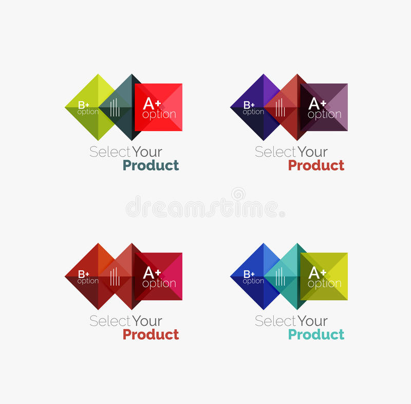 Set of abstract square interface menu navigation button vector illustration
