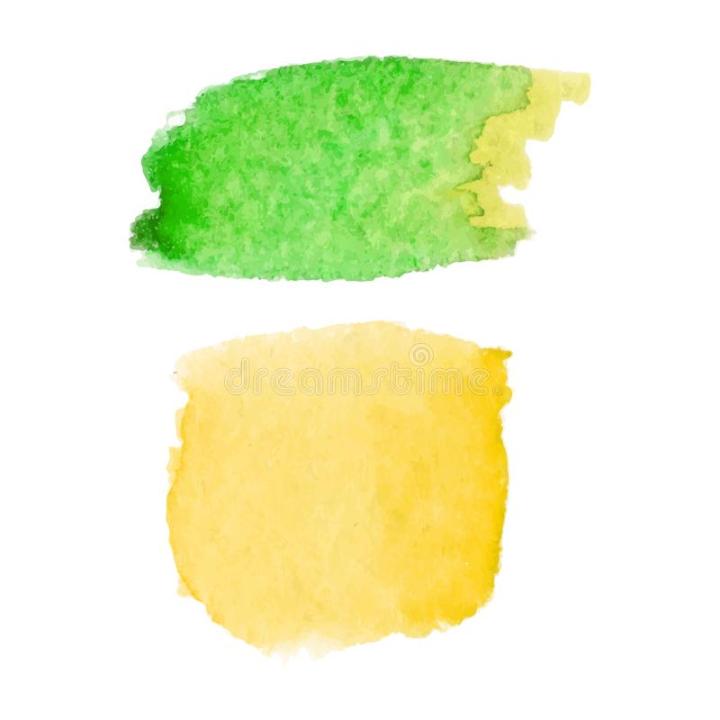 Set of abstract stains. Green and yellow colors. Bright creative backdrop. Watercolor texture with brush strokes. Spots isolated stock illustration