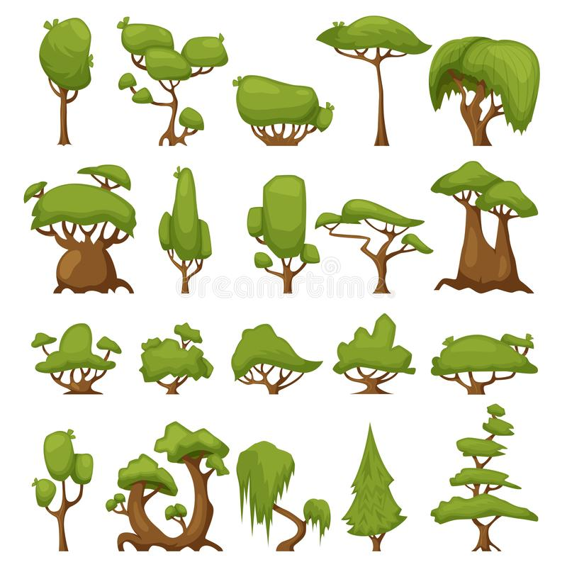 Set of abstract stylized trees. Vector park and garden trees and bushes. Green forest plants collection. Green tree and vector illustration