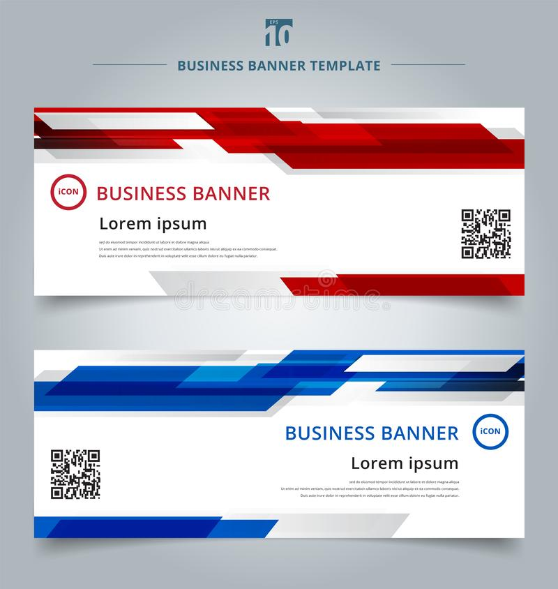 Set of abstract template technology web banner geometric red and royalty free illustration