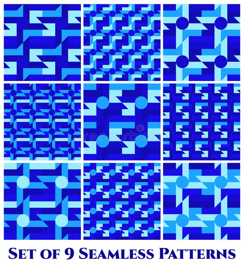 Set of 9 trendy seamless patterns with different geometric shapes of blue shades stock illustration