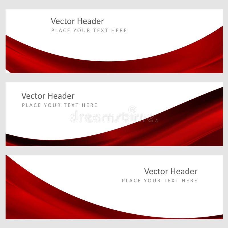 Set abstract vector background. Set abstract vector banners with smooth shiny red waves vector illustration