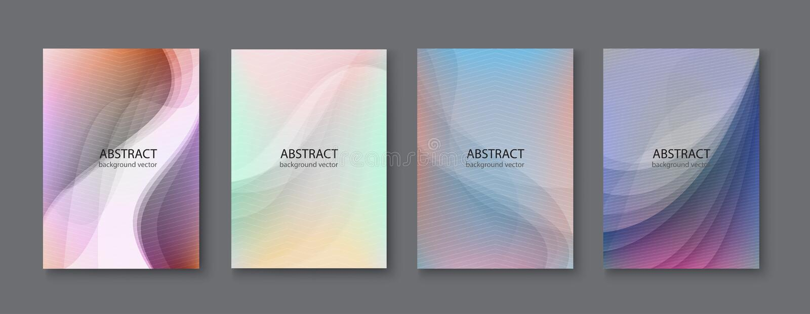 Set of abstract vector backgrounds with line waves.Vector illustration. royalty free illustration