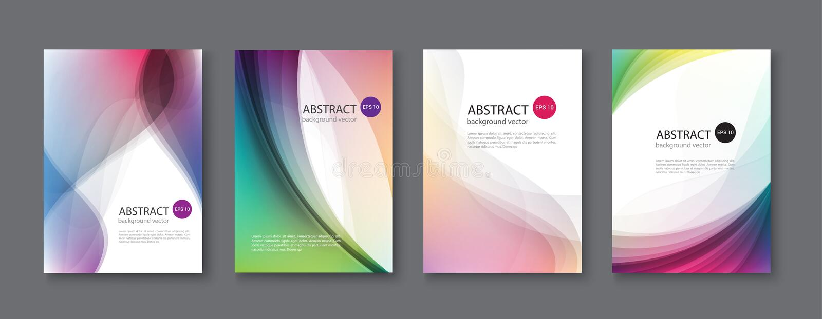 Set of abstract vector backgrounds with line waves.Vector illustration. stock illustration