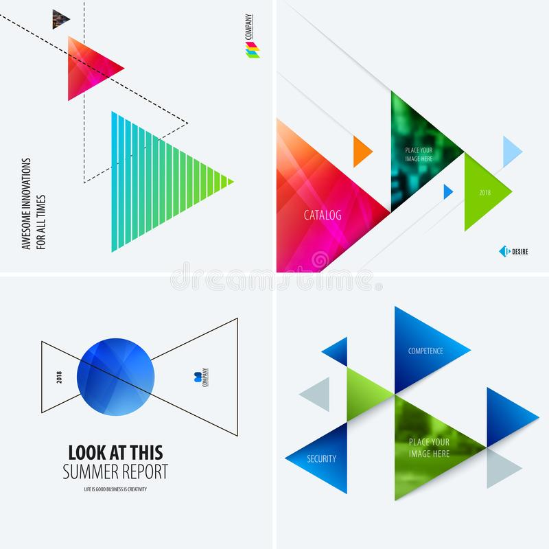 Download Set Of Modern Design Abstract Templates. Creative Business Background With Colourful Triangles For Promotion, Banner Stock Vector - Illustration of modern, advertising: 116256277