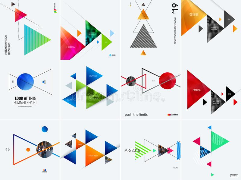 Download Set Of Modern Design Abstract Templates. Creative Business Background With Colourful Triangles For Promotion, Banner Stock Vector - Illustration of advertising, product: 116257694