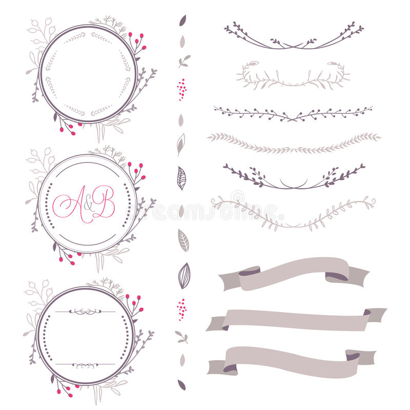 Set of abstract vector floral elements, frame, ribbon,etc vector illustration