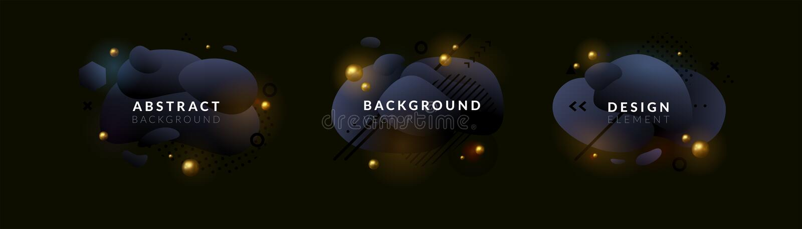Set of abstract vector graphics elements, banners design collection. Dark gradient fluid shapes. Black and white with royalty free illustration