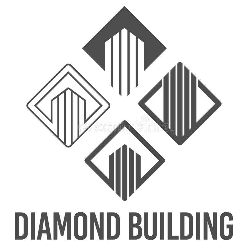 Set abstract vector illustration diamond building icon logo construction black color. Symbol, sign, business, shape, creative, modern, graphic, design vector illustration