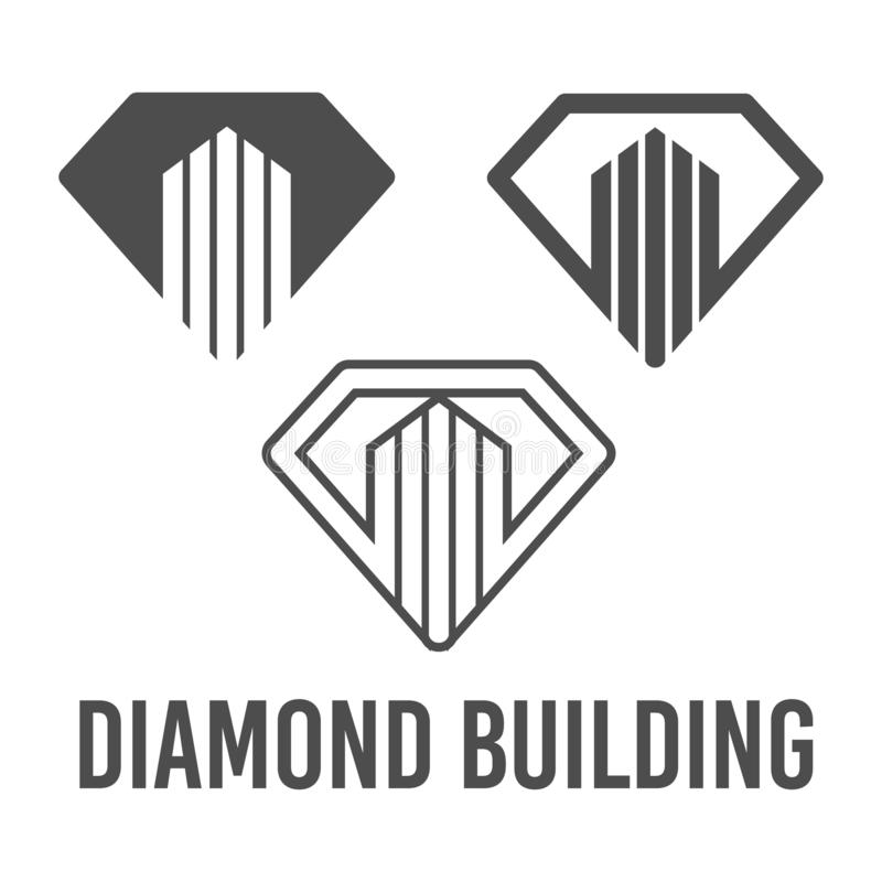 Set abstract vector illustration diamond building icon logo construction black color. Symbol, sign, business, shape, creative, modern, graphic, design royalty free illustration