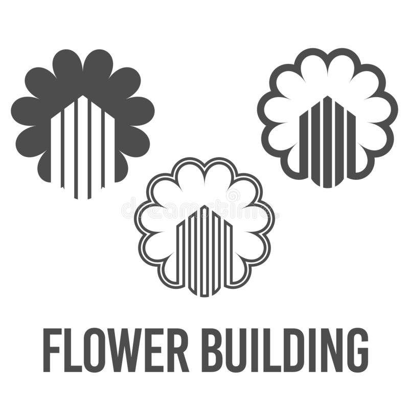 set abstract vector illustration flower building icon logo construction black color stock illustration