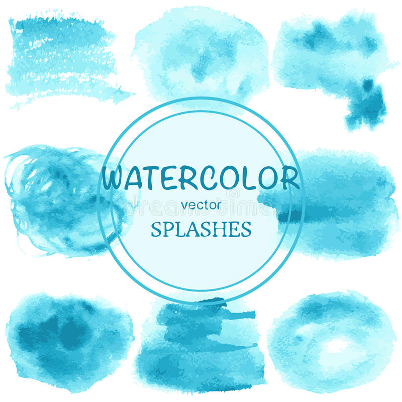 Set of abstract watercolor blue spots, blots, splashes and badge stock illustration