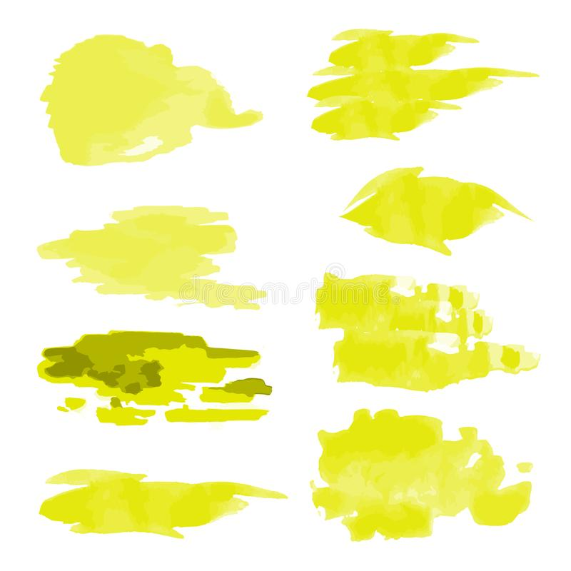 Set of abstract watercolor paint strokes. Isolated over white background. Vector illustration royalty free illustration