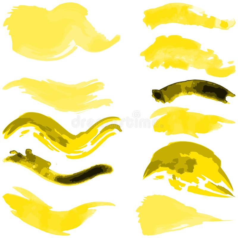 Set of abstract watercolor paint strokes. Isolated over white background. Vector illustration vector illustration