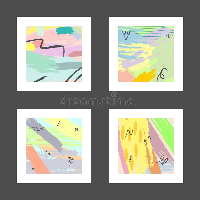 Set of abstract watercolour square patterns for design. Grunge, graffiti, watercolor. vector illustration