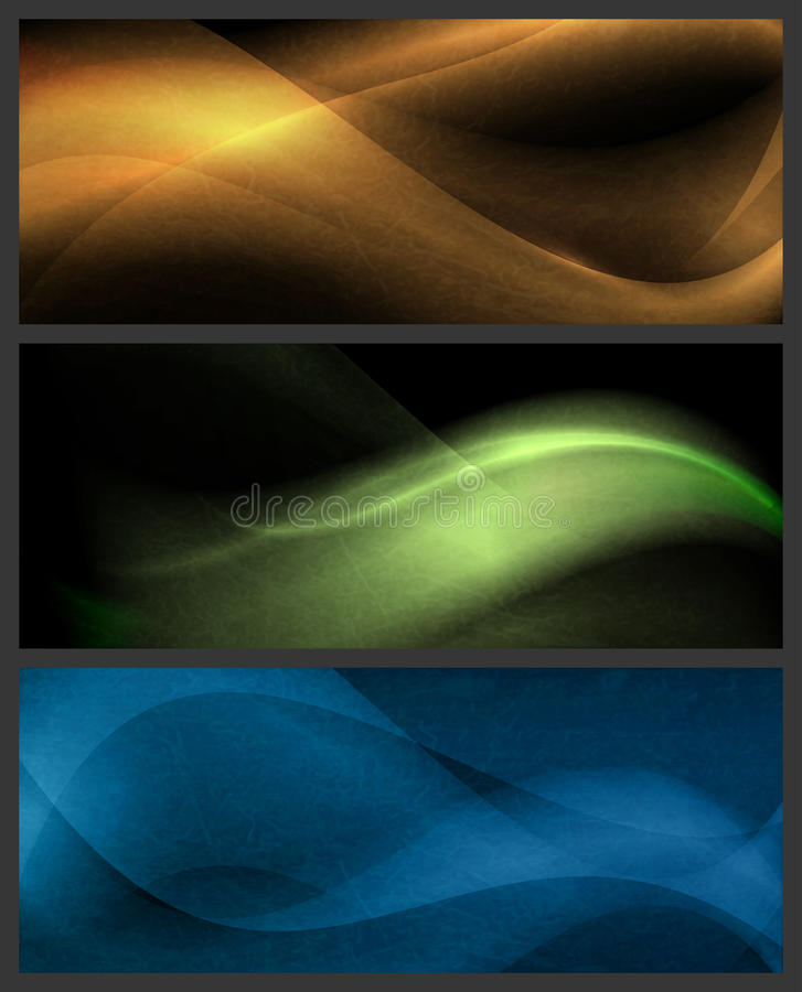 Download Set Of Abstract Wave Patterns On Dark Background Stock Vector - Image: 26477259