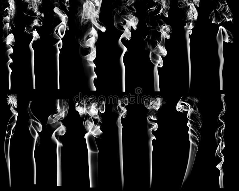 Set of abstract white smoke stock images