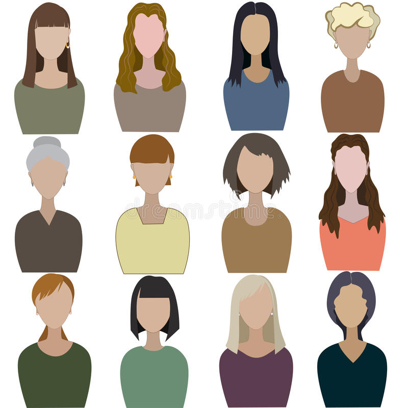 Set of abstract women stock illustration