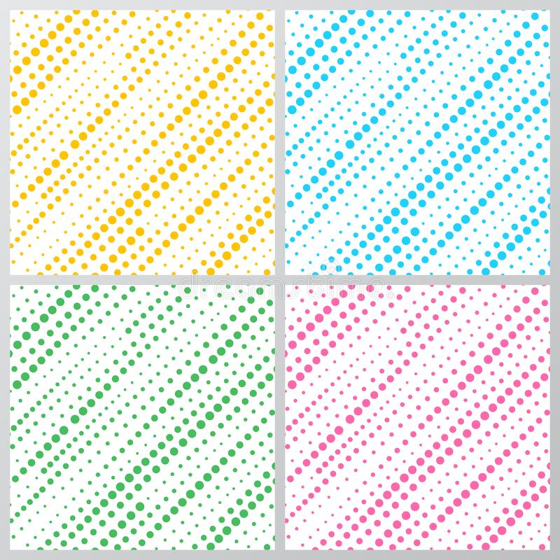 Set of abstract yellow, blue, green, pink dotted stripes diagonally pattern isolated on white background. Halftone texture. Vector illustration vector illustration
