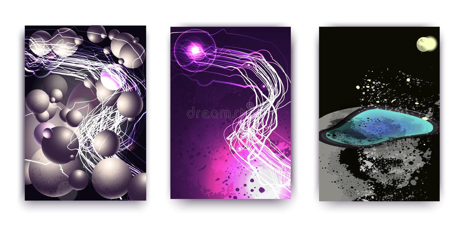A set of 3 abstractions with a cosmic theme, a planet and fashionable ovals and stripes. Futuristic abstract design royalty free illustration
