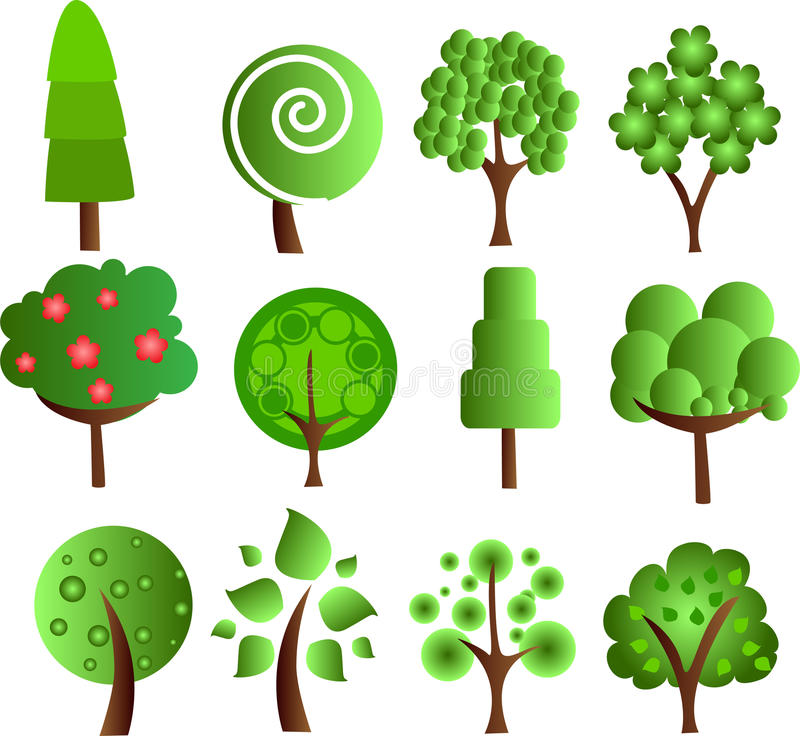 Download Set Abstracts  Trees, Vector Royalty Free Stock Photo - Image: 22274375