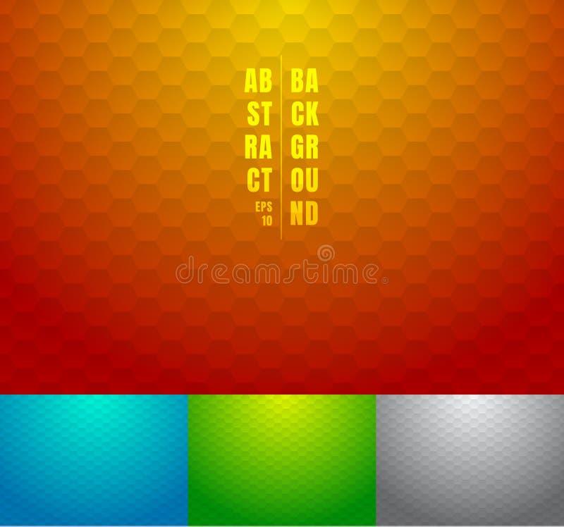Set abstrakcjonistyczna czerwień, błękit, zieleń, szarzy sześciokąty deseniuje tło Geometryczny pasiasty na multicolor gradientów royalty ilustracja